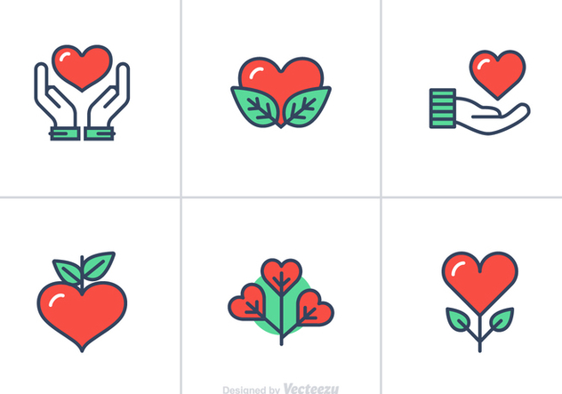 Free Heart Flat Linear Vector Icons - бесплатный vector #349589