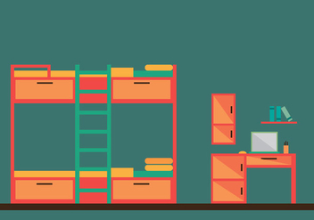 Free Bunk Bed Room Vector Illustration - бесплатный vector #349839