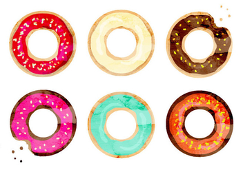Vector Watercolor Donuts - vector gratuit #350019
