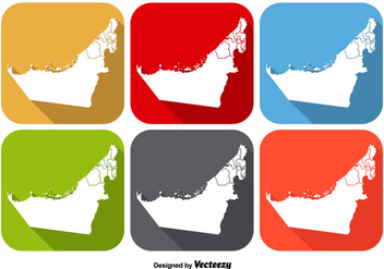 United Arab Emirates State Map Icon Vectors - Free vector #350069