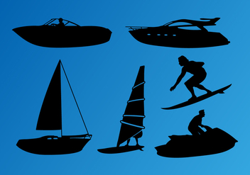 Jet Ski Nautical Silhouettes Vector - Free vector #350329