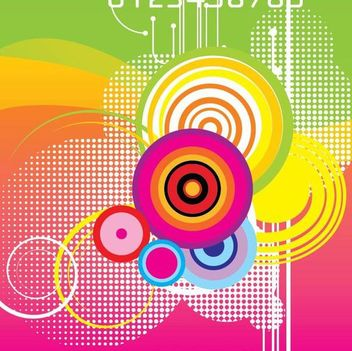 Colorful Circles Waves Abstract Background - vector gratuit #351029