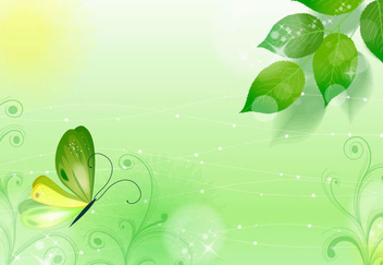 Floral Leaves Butterfly Spring Background - Free vector #351069