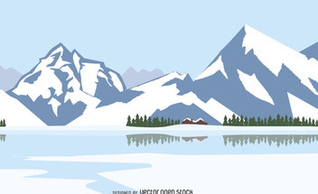 Winter landscape with snowed mountains - Free vector #351649
