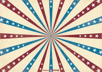 Retro Patriotic Sunburst Vector Background - Free vector #351709