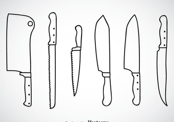 Cooking Knife Outline Vector Sets - Free vector #351919