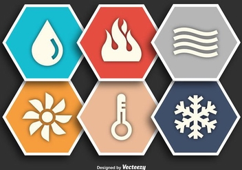 HVAC Flat Vector Icons - Free vector #352309