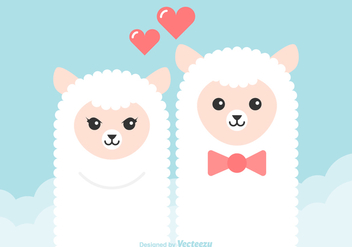 Free Cartoon Alpaca Couple Vector - Free vector #352369