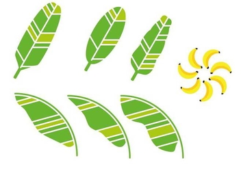 Artistic Banana Leaf Vector - Free vector #352389