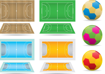 Handball Courts And Balls - Free vector #352489