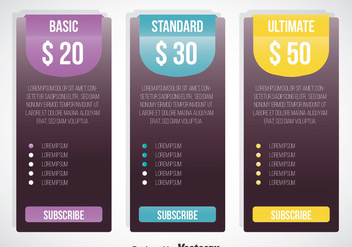 Pricing Table Template Vector - Free vector #353329