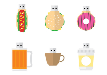 Fun Snack Pen Drive Vectors - бесплатный vector #353659