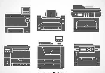 Photocopier Gray Icons Vector Sets - Free vector #353679