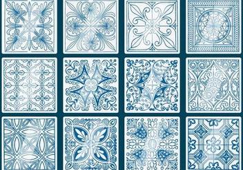 Blue Talavera Tile Vectors - Kostenloses vector #353879