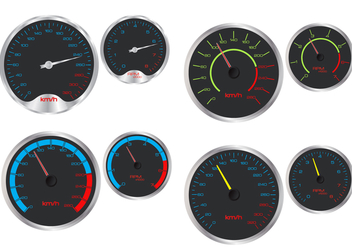 Speedometer And Rpm Vectors - vector gratuit #353949