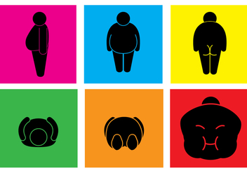 Fat Guy Posture Vectors - Free vector #353989