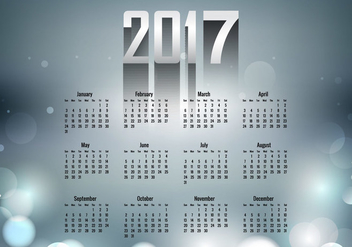 Year 2017 Calendar With Grey Color - vector gratuit(e) #354429