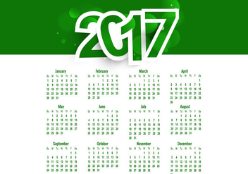 Green Colored Calendar Of Year 2017 - Kostenloses vector #354489