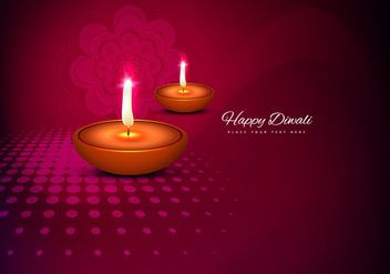 Glowing Diyas On Decorative Card - Kostenloses vector #354739