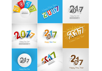 Set Of 2017 Happy New Year Greeting Card - бесплатный vector #354809