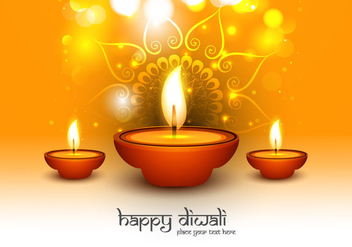 Happy Diwali Text With Oil Lit Lamps - Free vector #355079