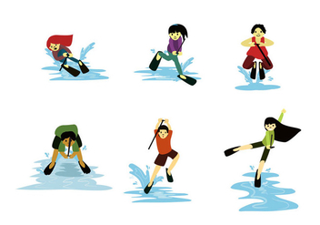 Fun Water Skiing Vectors - vector gratuit #355879