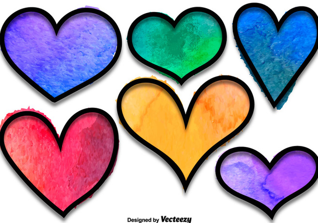 Watercolored Hearts Vector Set - бесплатный vector #356119