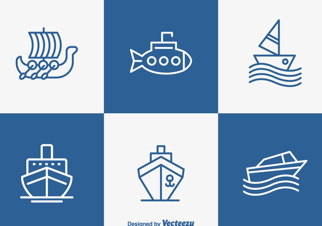 Free Outlined Boat And Ship Vector Icons - vector #356369 gratis