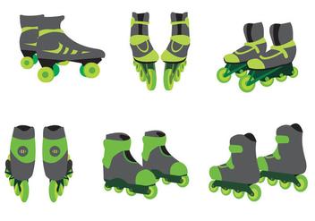 Green Roller Blade Vector - vector gratuit #356549
