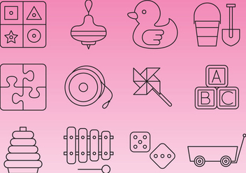 Learning Toys Line Icon Vectors - Free vector #356849