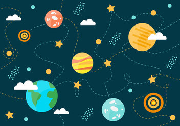 Free Collection of Space Planets Vector Background - Free vector #356869