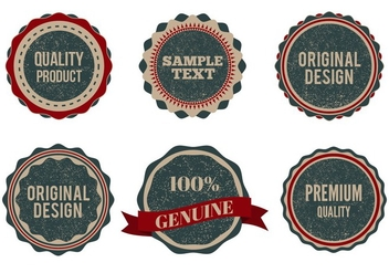 Free Vector Vintage Style Badges With Eroded Grunge - бесплатный vector #356889