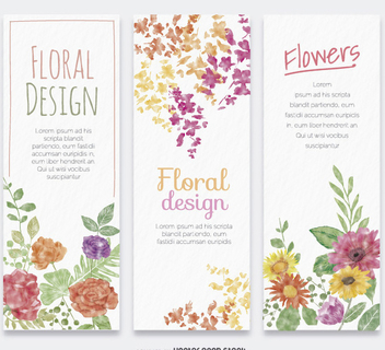 3 flower watercolor vertical banners - vector gratuit #357169