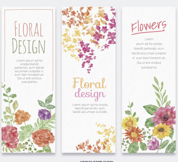 3 flower watercolor vertical banners - Free vector #357169