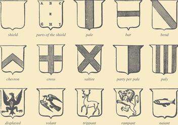 Old Style Drawing Heraldic Vectors - Kostenloses vector #357199