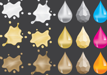 Metal Splats and Gem Vectors - Free vector #357559