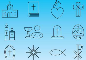 Religion Line Icon Vectors - Free vector #357619