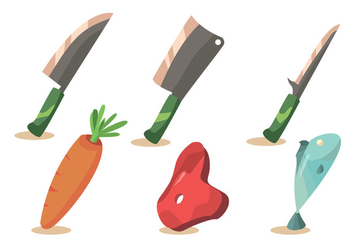 Meat and Cleaver Vector Set - Free vector #357629