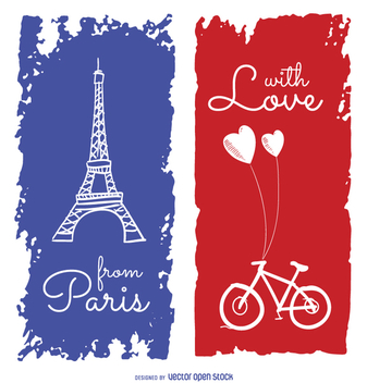 Cute Paris travel greeting card - vector gratuit #357669
