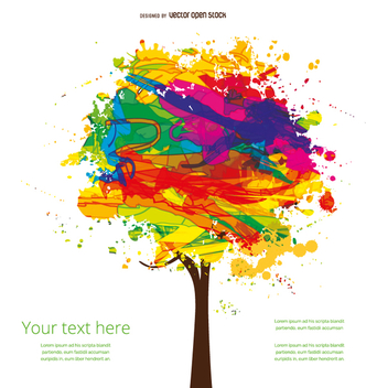 Artistic ink colorful tree - Free vector #357859