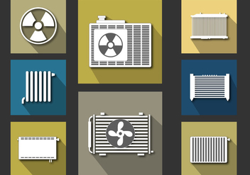 Radiator Icon Flat Vector Set - бесплатный vector #358259