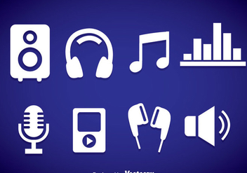 Music Element White Icons - vector gratuit #358349