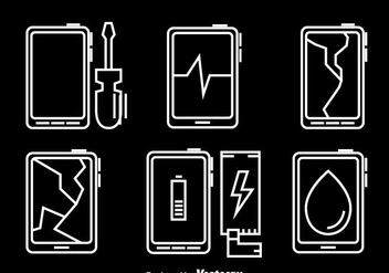 Phone Repair Icons Vector - Free vector #358609