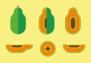 Flat Style Papaya Illustration Vector - бесплатный vector #358689