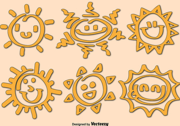 Cartoon Sun Icon Vectors - Free vector #358849