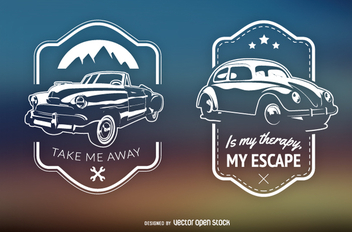 2 retro cars emblems - Free vector #359129