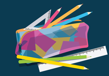 Pencil Case Colorful Vector - vector #359349 gratis