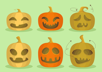 Pumpkins Halloween Cartoon Funny Vector Illustration - Free vector #359539