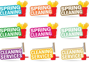 Spring Cleaning Title Vectors - бесплатный vector #359869