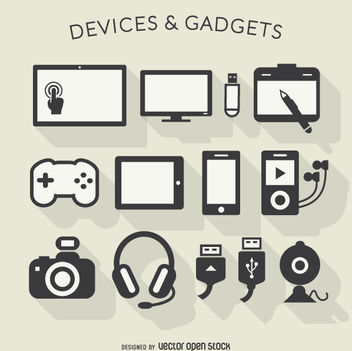 Electronic devices long shadow icons - Free vector #360529